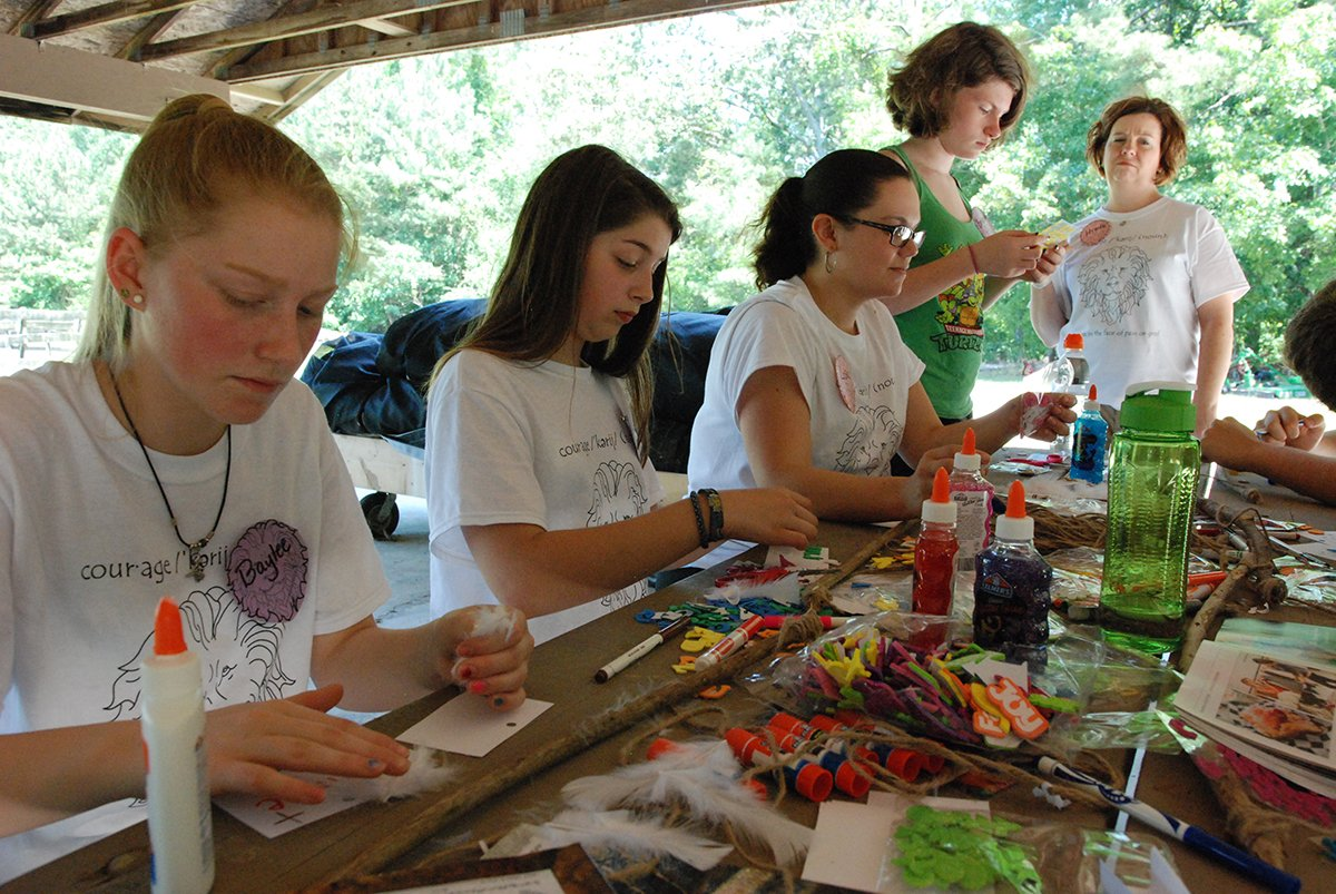 Craft time at Camp Courage.